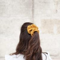 chouchous velours jaune